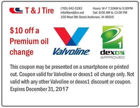 Oil change coupon for Anderson Indiana