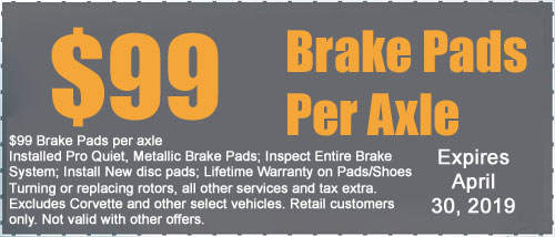 Electronic printable coupon for brake job T & J Tire and Auto Service 100 West 9th Street Anderson, IN 46016